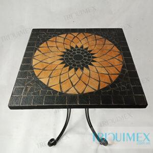 VU-055| Bàn mosaic vuông chân sắt mặt hoa nghệ thuật